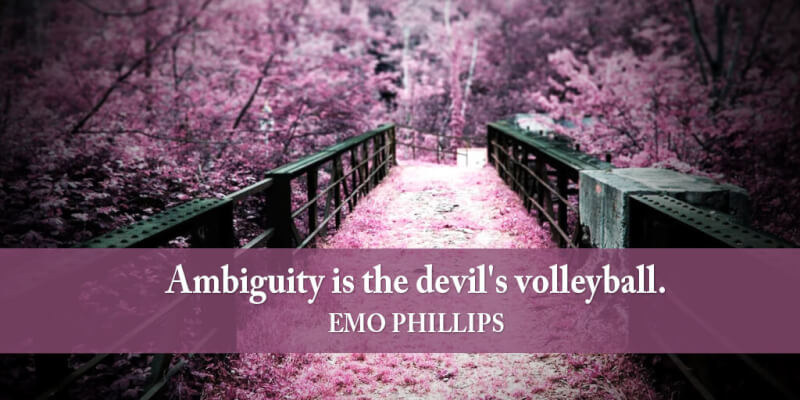 Emo Philips quote Ambiguity is the devil's volleyball.