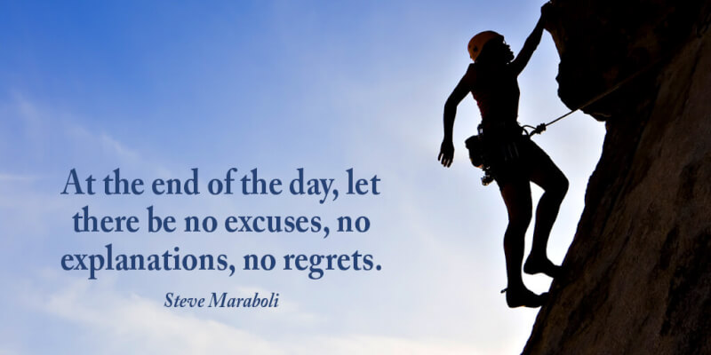 Steve Maraboli quote At the end of the day, let there be no excuses, no explanations, no regrets.