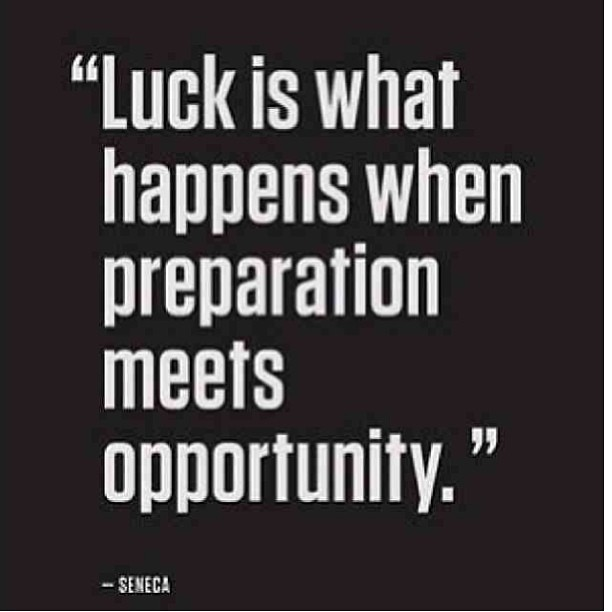 Quote Success Is When Preparation Meets Opportunity: Luck Is What Happens When Preparation Me