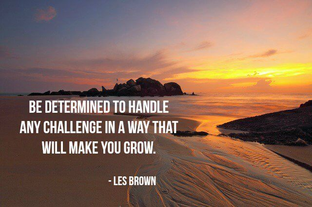 Will and determination quote Be determined to handle any challenge in a way that will make you grow.