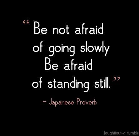 Do not fear quote Be not afraid of going slowly, Be afraid of standing still.