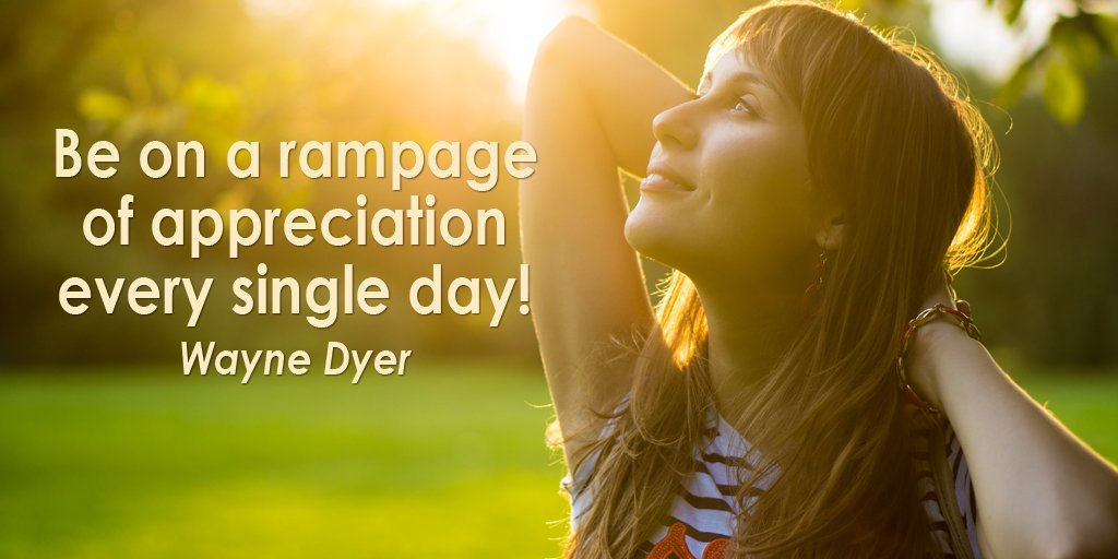 Single quote Be on a rampage of appreciation every single day!