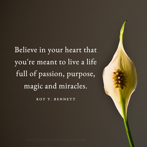 Purpose quote Believe in your heart that you're meant to live a life full of passion, purpose,