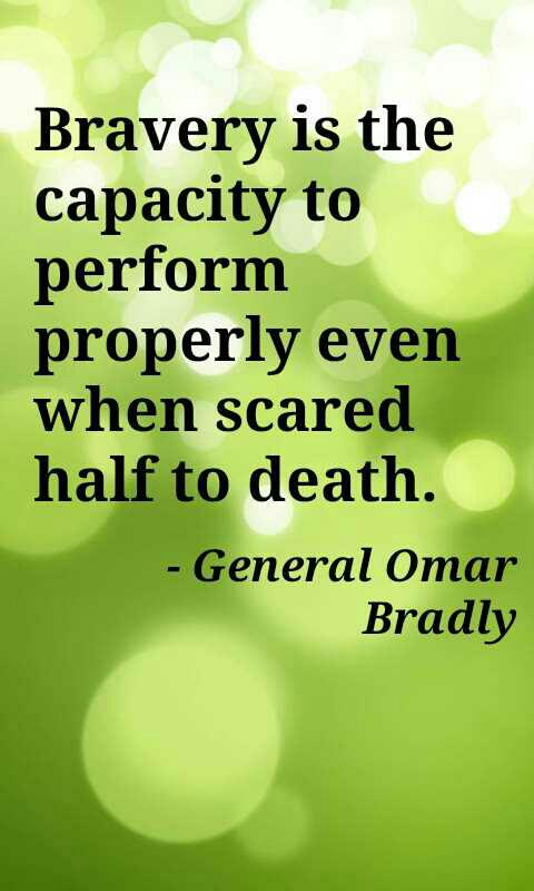 Performance review quote Bravery is the capacity to perform properly even when scared half to death.