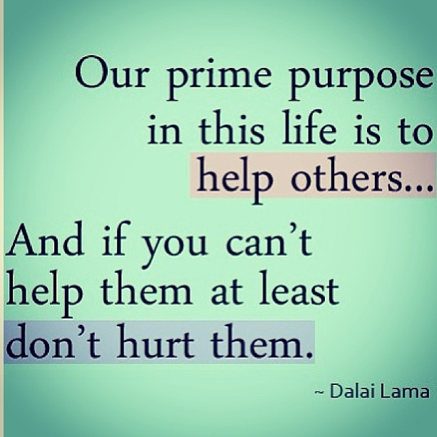 Helping others quote Our prime purpose in this life is to help others... And if you can't help them a