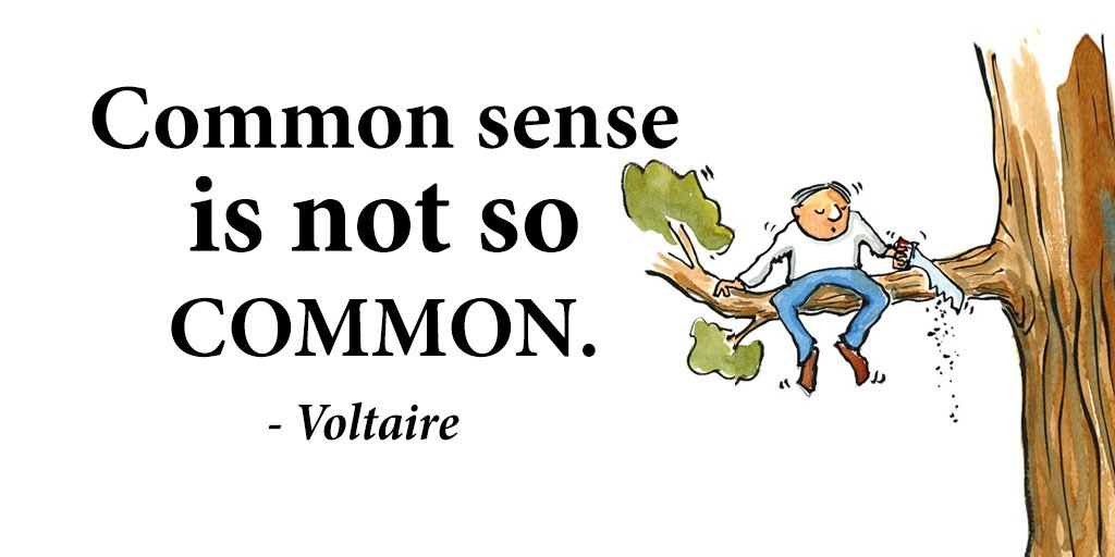 Commonly quote Common sense is not so common.
