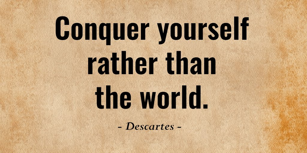 Picture quote by Rene Descartes about conquer