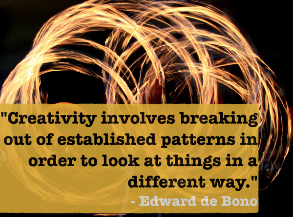 Establishments quote Creativity involves breaking out of established patterns in order to look at thi