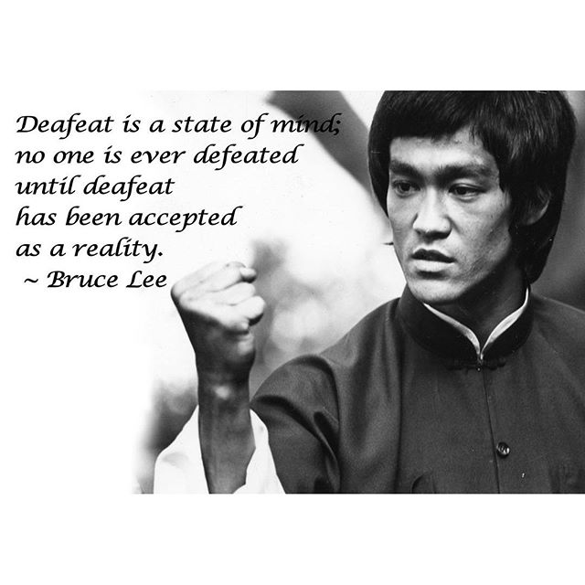 Defeat is a state of mind: no one is ever defeated until defeat has been accepted as a reality. - Bruce Lee