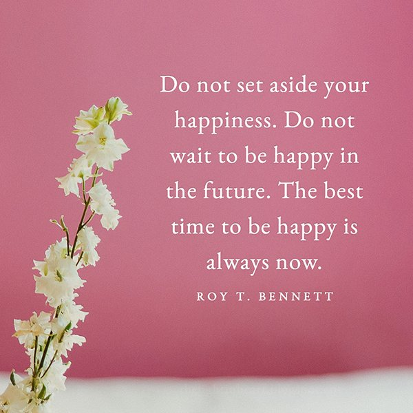 Set quote Do not set aside your happiness. Do not wait to be happy in the future. The best