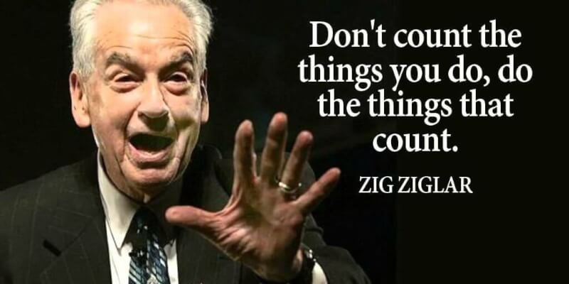 Motivational quote Don't count the things you do, do the things that count.