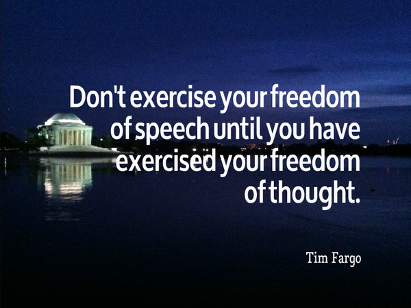 Picture quote by Tim Fargo about thinking