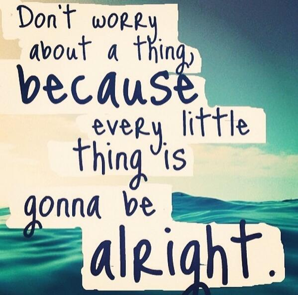 Little things quote Don't worry about a thing, every little thing is gonna be alright.