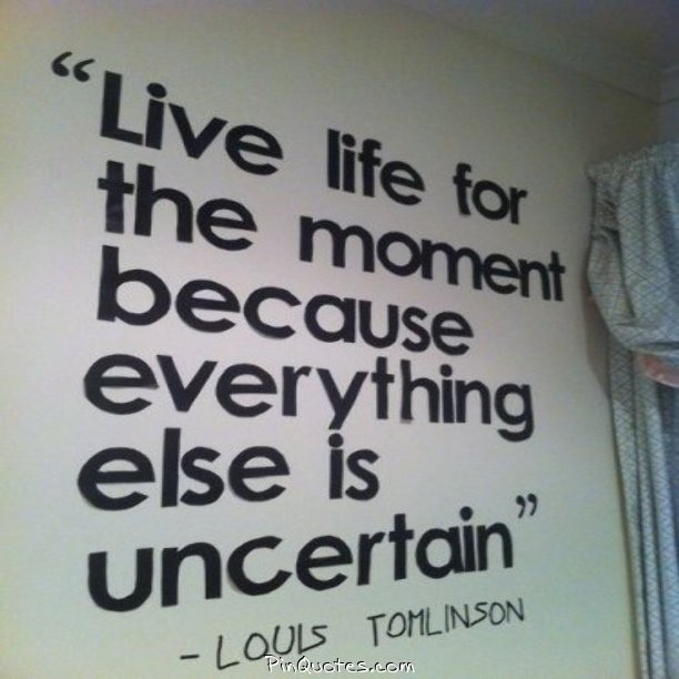 Live in the moment quote Live life for the moment because everything else is uncertain.