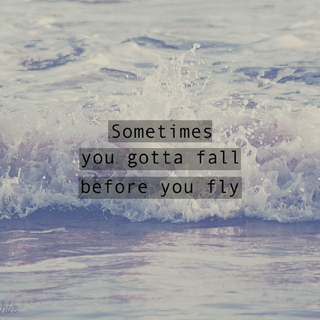 Gotta quote Sometimes you gotta fall before you fly .