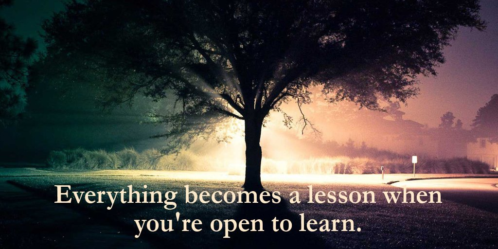 Everything becomes a lesson when you're open to learn.