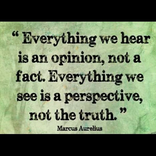 Everything we hear is an opinion, not a fact. Everything we see is a perspective, not the truth. - Marcus Aurelius