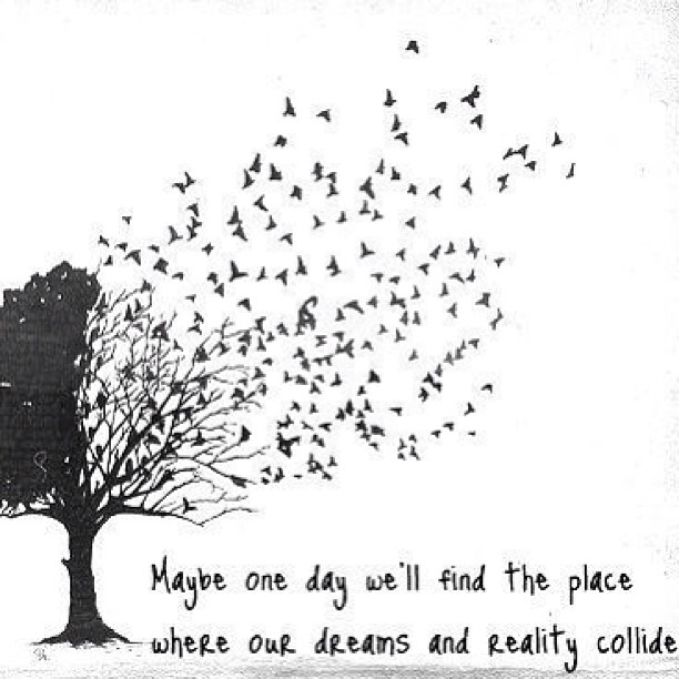 Dream reality quote Maybe one day we'll find the place where our dreams and reality collide