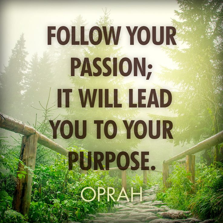 Passionate quote Follow your passion; it will lead you to your purpose.