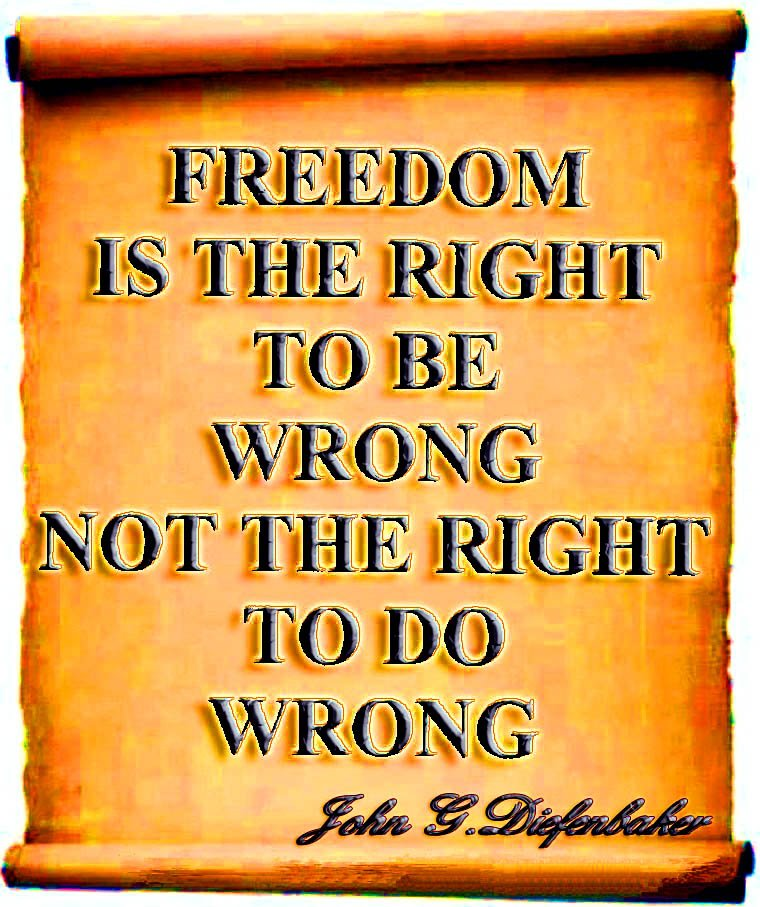 Freedom and liberty quote Freedom is the right to be wrong, not the right to do wrong.