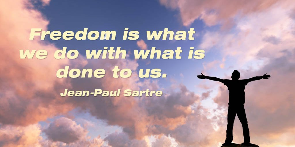 Picture quote by Jean-Paul Sartre about freedom