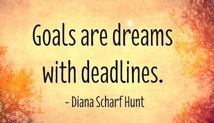 Goals are dreams with deadlines. - Diana Scharf Hunt