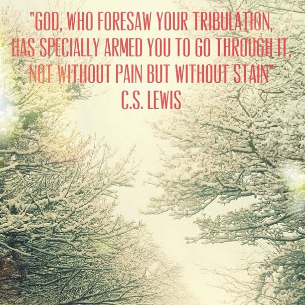 Stained glass quote God, who foresaw your tribulation has specially armed you to go through it, not