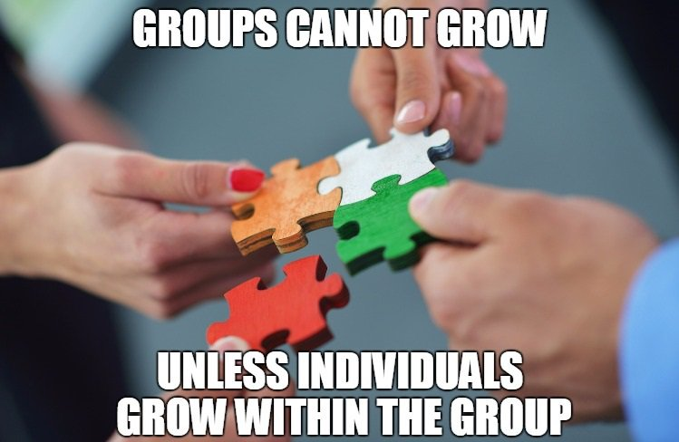 Group quote Groups cannot grow, unless individuals grow within the group.