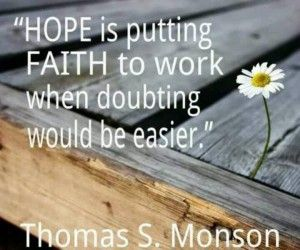 Would be quote Hope is putting faith to work when doubting would be easier.