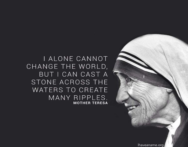 Oil and water quote I alone cannot change the world, but I can cast a stone across the waters to cre