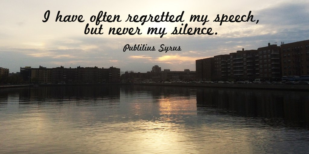 Speech quote I have often regretted my speech, but never my silence.