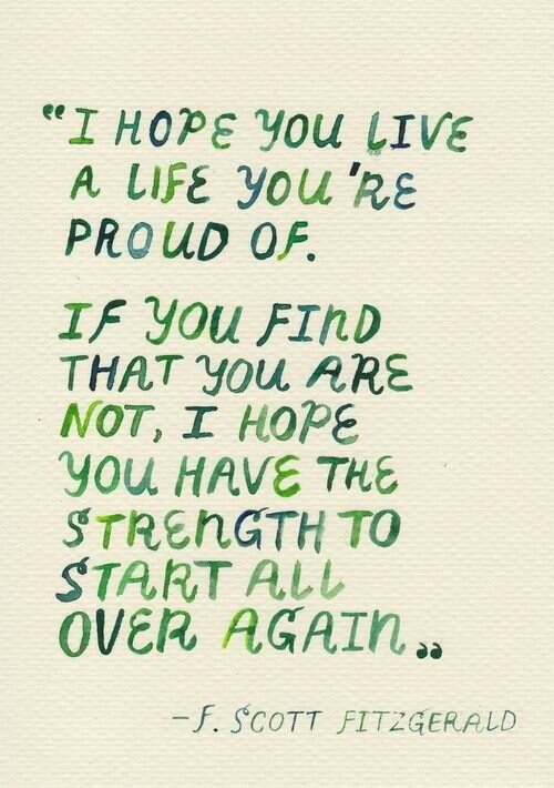 F. Scott Fitzgerald quote I hope you live a life you're proud of. If you find that you are not, I hope you