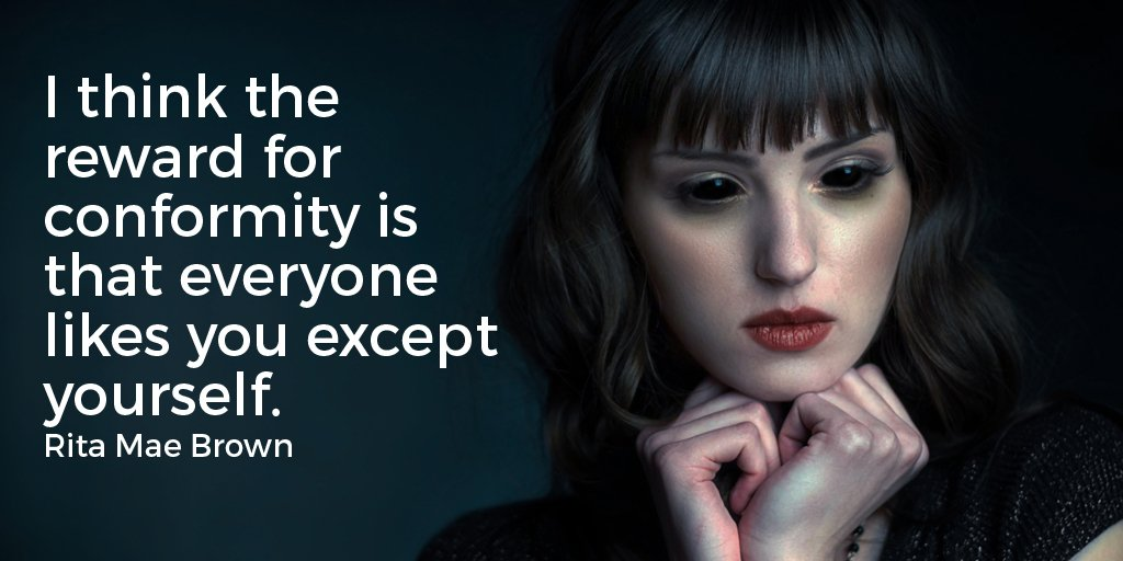 Exceptional quote I think the reward for conformity is that everyone likes you except yourself.