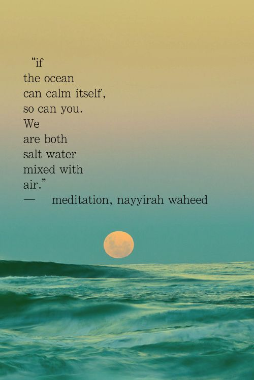 Ocean quote If ocean can calm itself, so can you. We are both salt water with with air.
