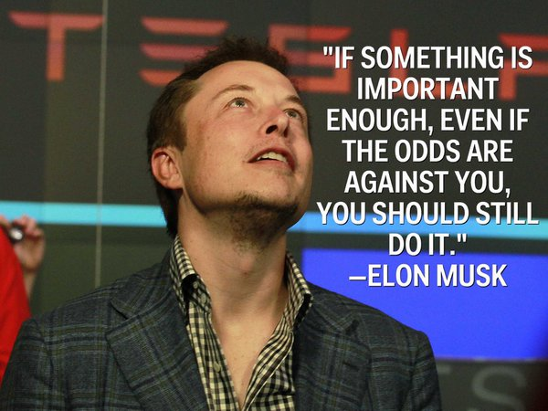 If something is important enough, even if odds are against you, you should still do it. - Elon Musk