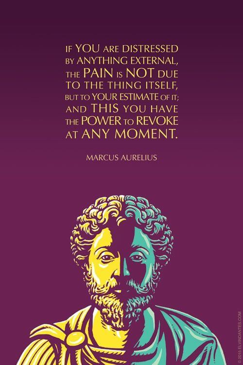 Marcus Aurelius quote If you are distressed by anything external, the pain is not due to the thing its