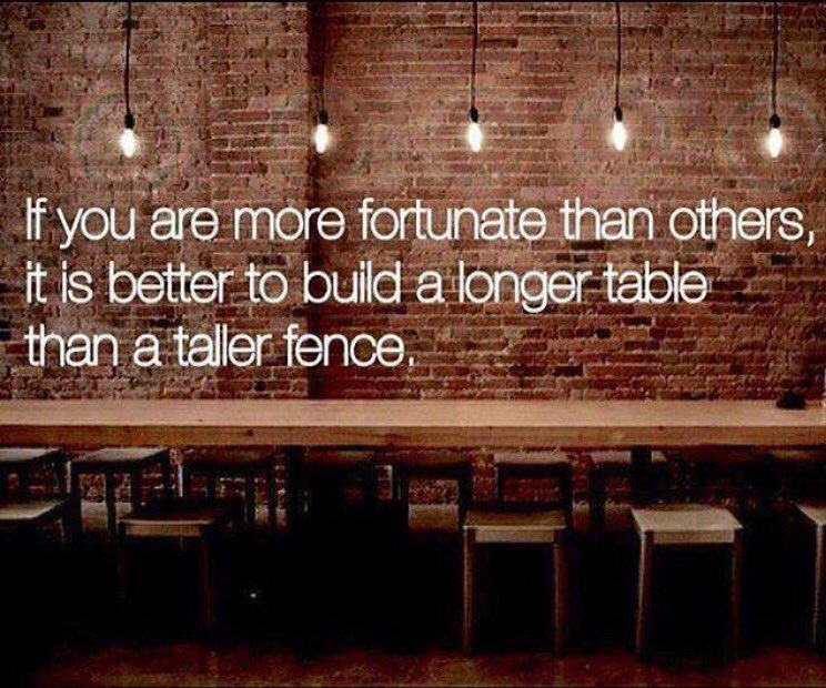 If you are more fortunate than others, it is better to build a longer table than a taller fence. - Sayings