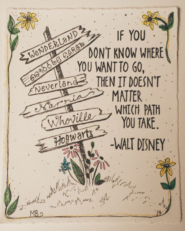 Place quote If you don't know where you want to go, then it doesn't matter which path you ta