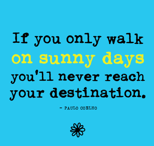Forwarded quote If you only walk on sunny days you'll never reach your destination.