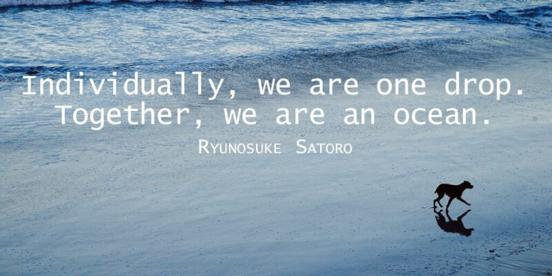 Ryunosuke Satoro quote Individually, we are one drop. Together, we are an ocean.