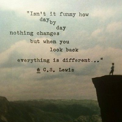 Isn't it funny how day by day nothing changes, but when you look back everything is different. - C. S. Lewis