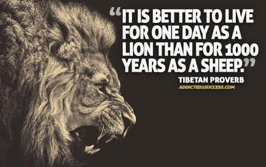 Better days quote It is better to live one day as a lion than a 1000 years as a sheep.