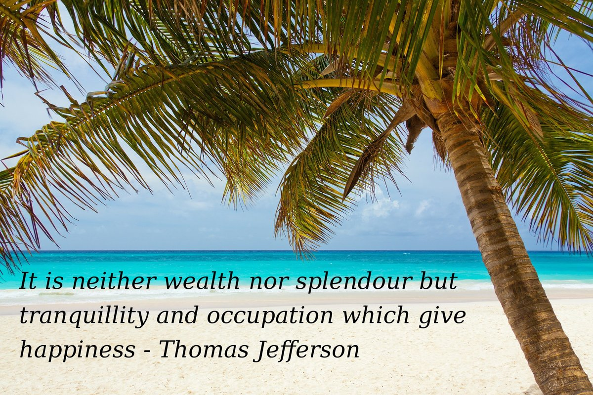 It is neither wealth nor splendour but tranquillity and occupation which give happiness. - Thomas Jefferson