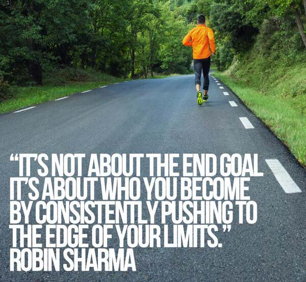 Cutting edge quote It's not about the end goal. It's about who you become by consistently pushing t