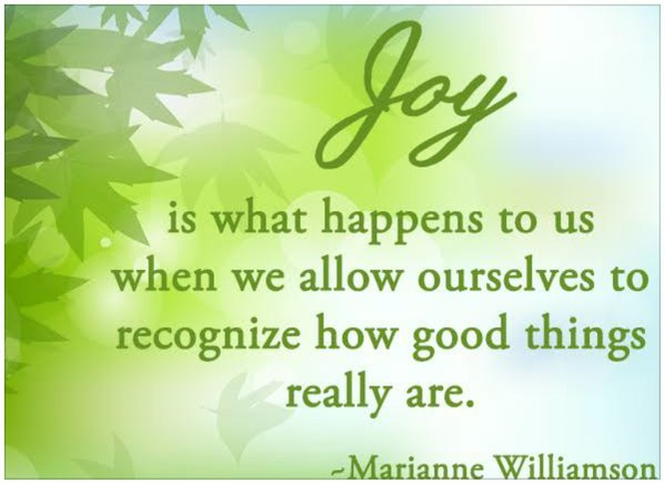 Good things quote Joy is what happens to us when we allow ourselves to recognize how good things r