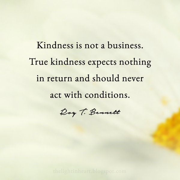 Kindness is not a business. True kindness expects nothing in return and should never act with conditions. - Roy Bennett