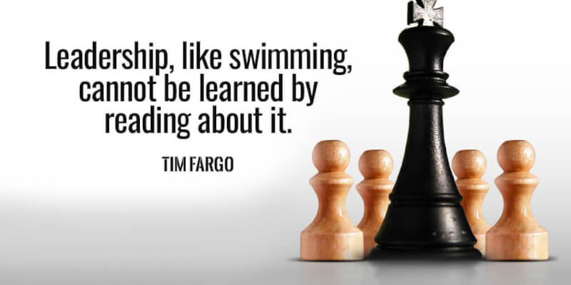 Demand quote Leadership, like swimming, cannot be learned by reading about it.
