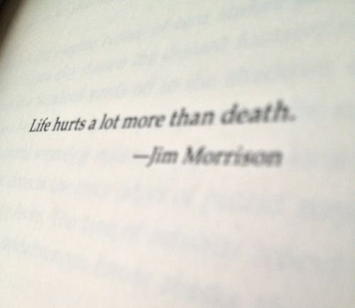 Life hurts a lot more than death. - Jim Morrison