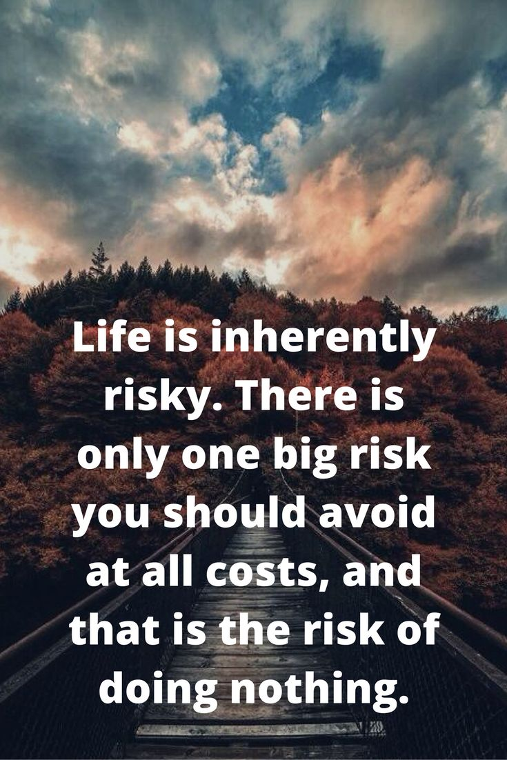 Big picture quote Life is inherently risky. There is only one big risk you should avoid at all cos