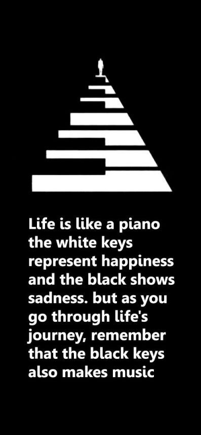 Happiness sadness quote Life is like a piano, the white keys represent happiness and the black shows sad